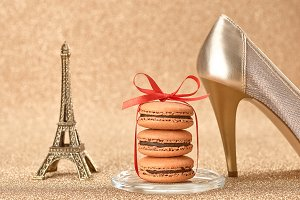 Macarons.Eiffel Tower, shiny shoes