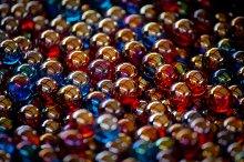 Glass Marbles blue red orange