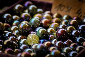 Glass Marbles red blue yellow