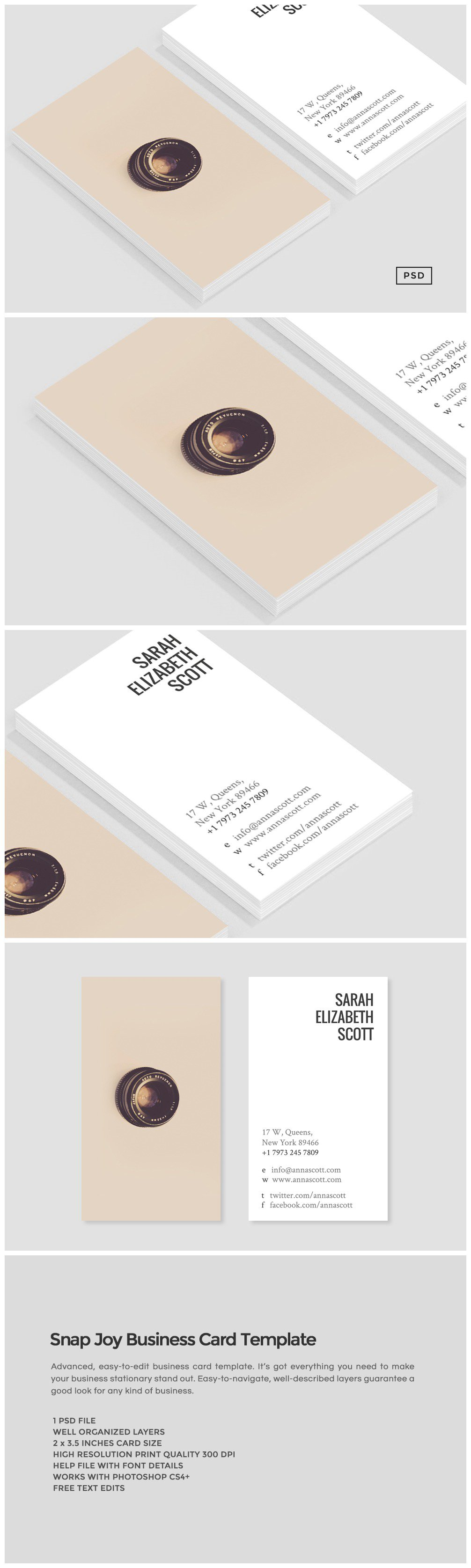 Snap joy business card template business card templates creative snap joy business card template business card templates creative market reheart Images
