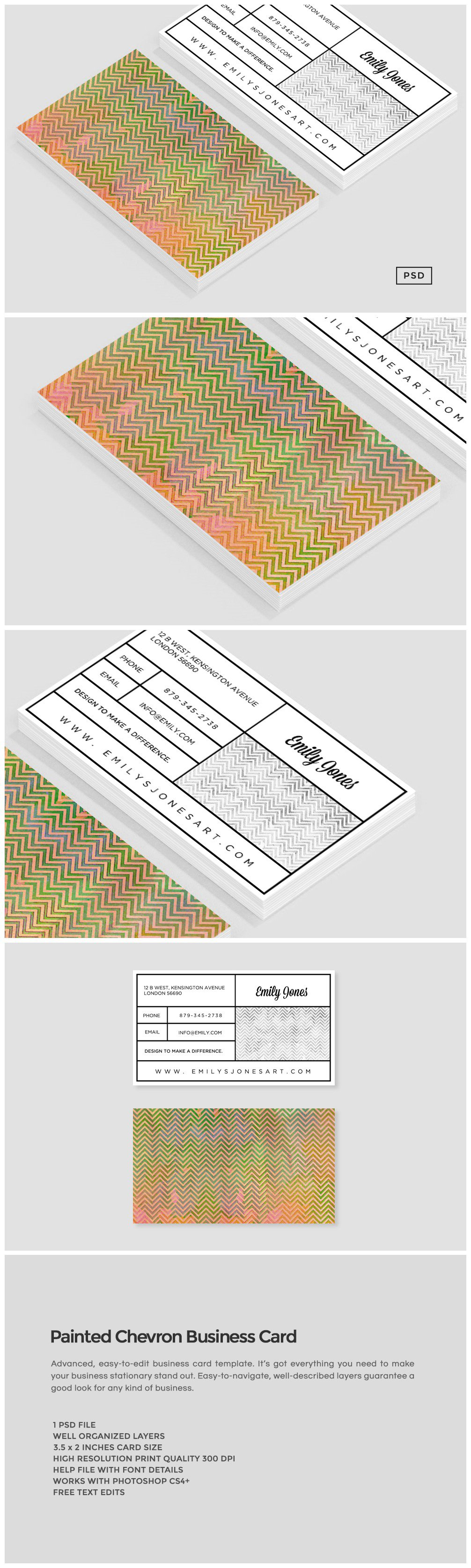 Painted Chevron Business Card Business Card Templates Creative