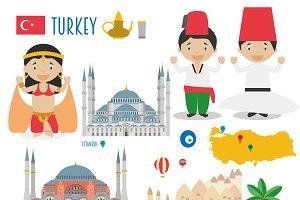 Turkey Flat Icon Set Travel