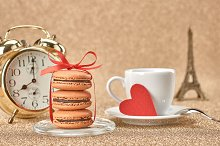 Macarons,heart,cup coffee,alarm.Love