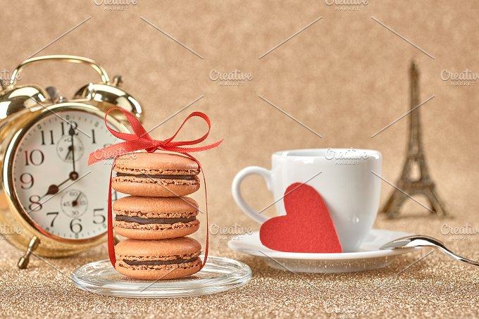 Macarons,heart,cup coffee,alarm.Love - Arts & Entertainment