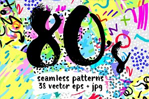 80's Style: 38 Vector patterns