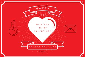 valentine's day card template vector