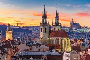 Aerial view over Prague