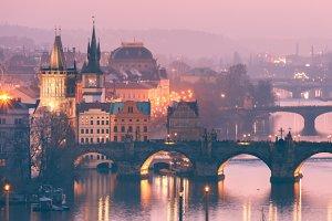 Top view over Prague