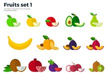 Fruit and Slices on White