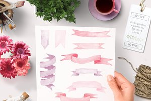 Watercolor Banners Ribbons Graphics