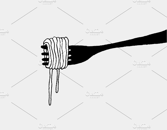 Spaghetti and fork silhouette