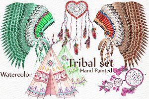 Watercolor tribal set