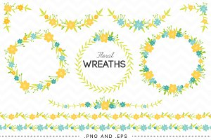10 Floral Wreaths Laurels Borders