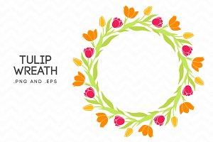 Tulip Wreath Vector