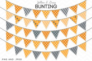 5 Yellow Gray Bunting Banner Clipart