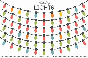 Holiday Lights Vector Clip Art
