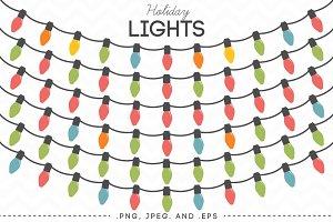 Holiday Lights Vector Clip Art