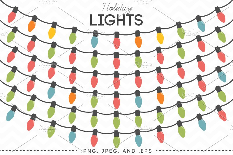 Holiday Lights Vector Clip Art Illustrations Creative Market