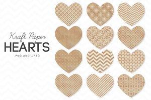 12 Kraft Paper Valentine's Hearts
