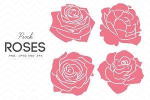 4 Pink Roses Clip Art Vector