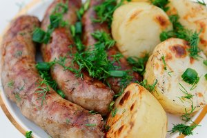 Grilled sausages and potatoes