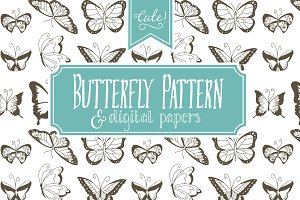 Seamless Butterfly Pattern - Vector