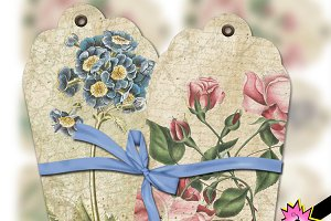 Vintage Floral Tags Digital Collage