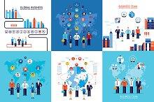 12 teamwork business banners set