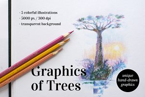 5 AUTHOR'S ILLUSTRATIONS of TREES
