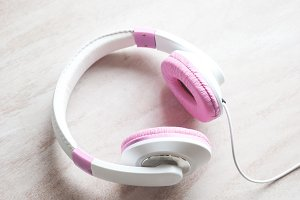 Pink + White Headphones Styled Stock