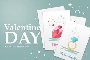 Valentine's Day flat cards