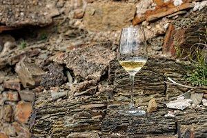 Glass of Riesling wine on slate