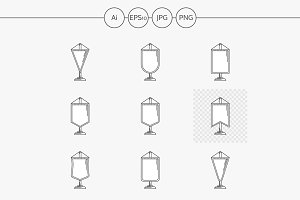 Pennant flat line vector icons set
