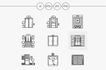 Entrance flat line vector icons set