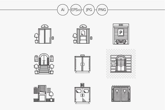 Entrance flat line vector icons set