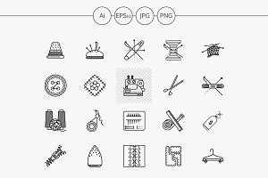 Sewing items flat line vector icons