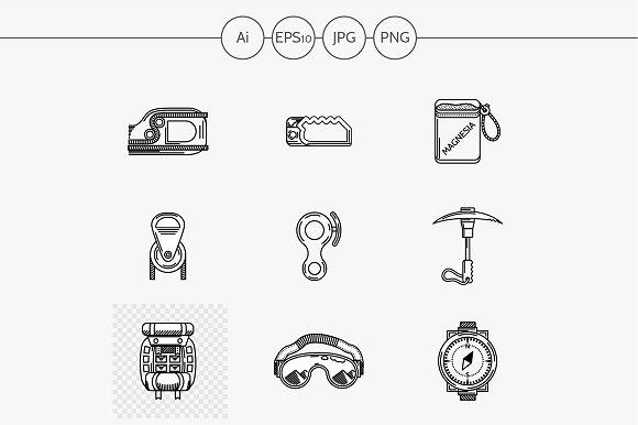 Rock climbing flat line vector icons