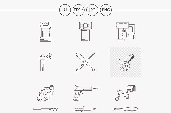 Self defence flat line vector icons