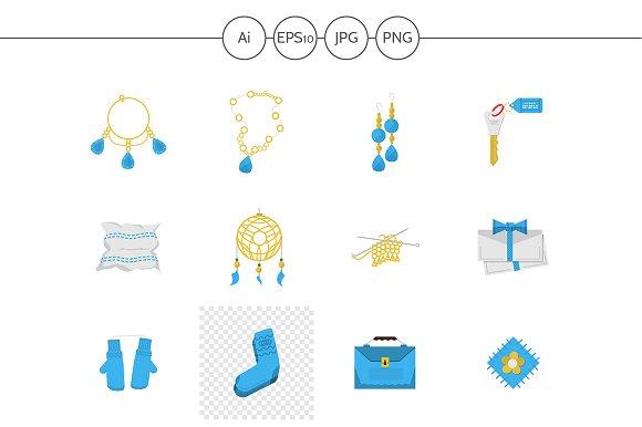 Handmade items flat vector icons set