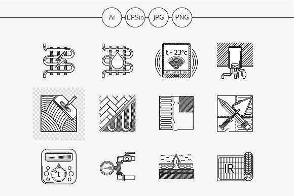 Heated floor flat line vector icons