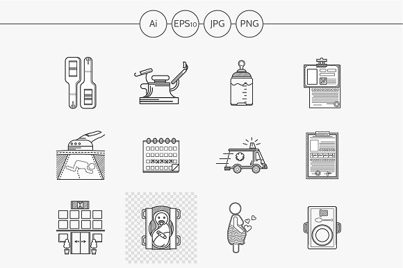 Gynecology flat line vector icons