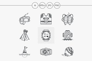 Diving flat line vector icon. Part 1