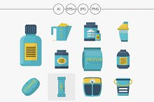 Sport supplements flat vector icons