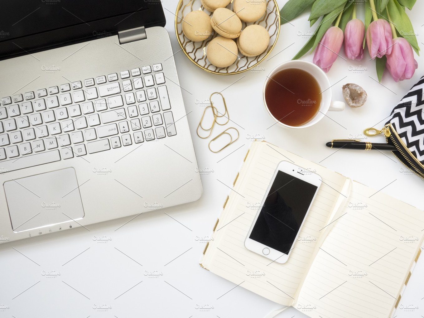 Modern Flat Lay Styled Desk Mock Up Business Photos