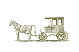 Woodcut Horse and Buggy