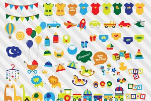 Bright Baby Shower Vector Clipart