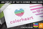 Color Lines Love Heart Logo Template