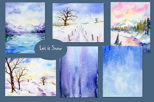 Watercolor Landscape Let It Snow