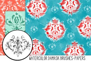 Hand Painted Damask Papers/Brushes