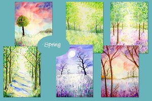 Watercolor Nature Background Spring
